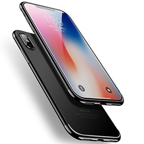 iPhone X Hülle, Ultra Dünn Schlank Silicone Matte Handyhülle TPU Anti-Fingerabdruck Schutzhülle für Apple iPhone X (Transparent + Schwarz)