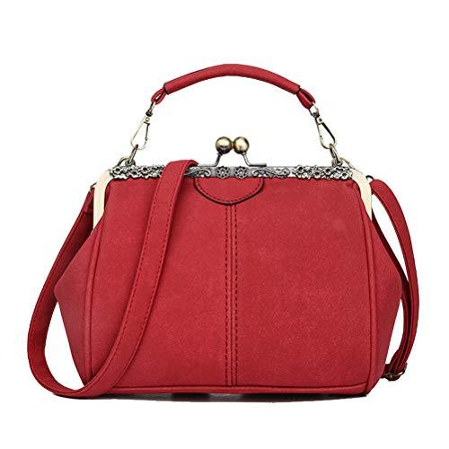 Abuyall Retro Kiss Lock Wildleder Minimalistische Crossbag Warm Schultertasche Handtasche Handtasche Tasche Umhängetasche, Pt4 (Rot) - KILOCK001D