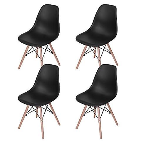Lot de 4 chaises design tendance rétro eiffel bois chaise de salle à manger - Noir