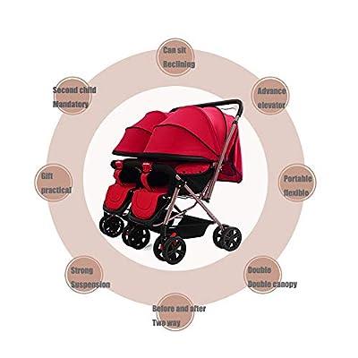 YDXW Plegable Silla Gemelar para Gemelos Y Hermanos Carrito Gemelar Silla De Paseo Cochecito De Bebé Capacidad 96 * 98 * 50 Cm
