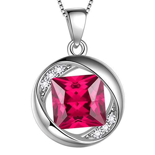 AuroraTears Juli Birthstone Halskette 925 Sterling Silber Red Ruby Birth Stone Anhänger Schmuck Geschenke für Frauen und Mädchen DP0029R