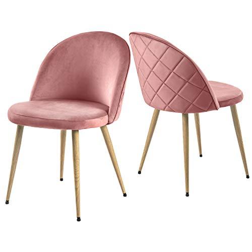 Modern Luxe  ® 2er Set Esszimmerstuhl Wohnzimmerstuhl Lounge Sessel SAMT Stoff Weicher Sitz und Rücken mit Holzernen Metallbeinen, Farbauswahl