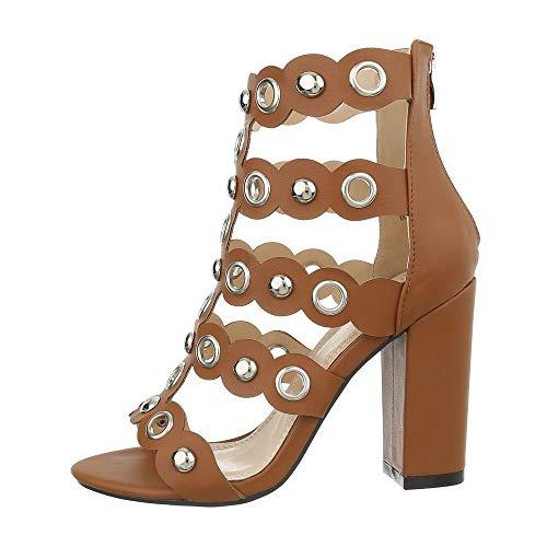 Camel High Heels (Ital-Design Damenschuhe Sandalen & Sandaletten High Heel Sandaletten Synthetik Camel Gr. 39)