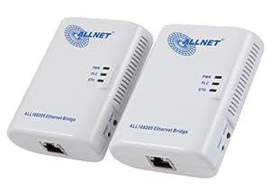 Allnet 200 Mbit Powerline Ethernet Bridge Bundle (Netzwerk aus der Steckdose)