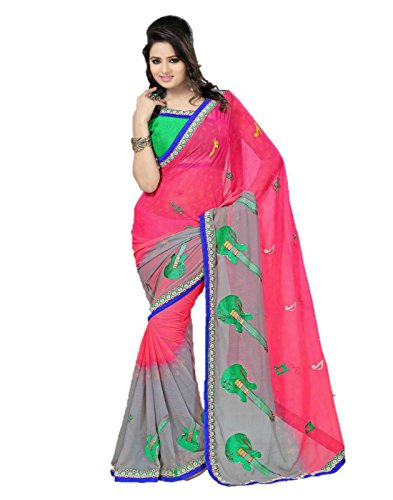 Sharda Sarees Chiffon Saree (Pink) with Blouse Piece