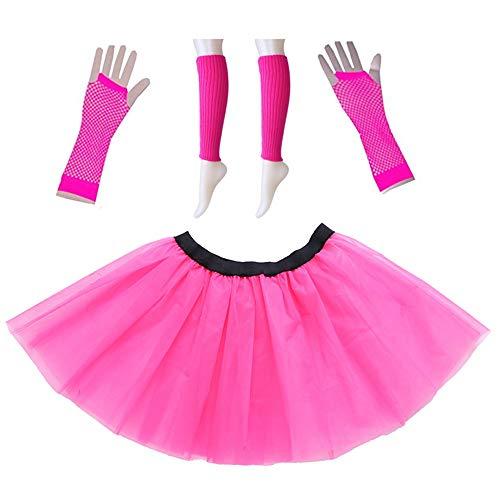 Trixes Neon Pink Handschuhe Leg Warmer und Tutu Adult Fancy Dress Kostümset - Für 80's Themenveranstaltungen und Kostümfeste - Zubehör für Partys