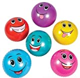 "6 Pack Knobby Balls Funny Faces 18"" (Inch)"