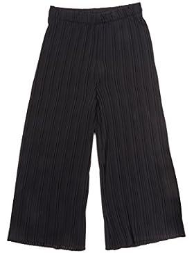 Main Company Pantalone donna moda largo con plissé ed elastico in vita