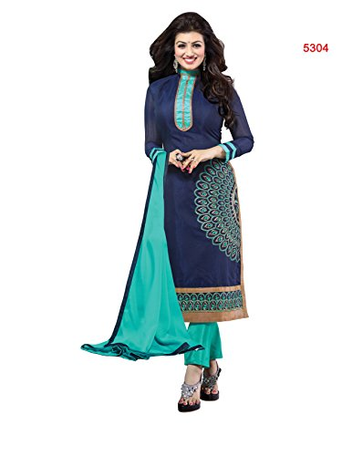 Blissta Blue Chanderi Embroidered Straight Salwar Suit Dress Material(SMFDG04)