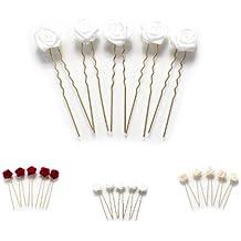 5 horquillas con rosas - accesorios para el cabello - para cabello plano - oro -