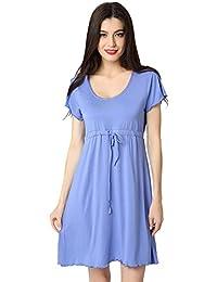 Aibrou Femmes Chemise de nuit Fit Comfy Flatteur Chemise de nuit à manches courtes col en V Robe de chambre à coucher