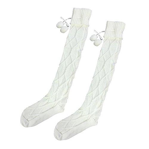Over Knee Oberschenkel Hohe Strumpf Damen DAY.LIN Kabel gestrickt Lange Stiefel Socken (Weiß) (Strumpfhosen Kabel-pullover)