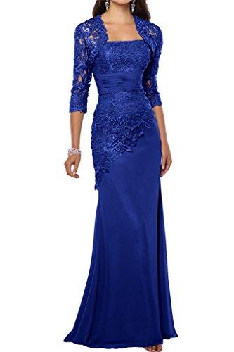 Victory Bridal 2018 Neu Spitze Chiffon Abendkleider Ballkleider Meerjungfrau Brautmutter Kleid Mit Bolero-38 Royal Blau -