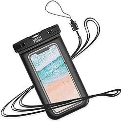 YOSH Pochette Étanche Téléphone [Certifiée IPX8] Housse Étanche Smartphones Universel pour écrans Jusqu'à 6,1 Pouces - Noir