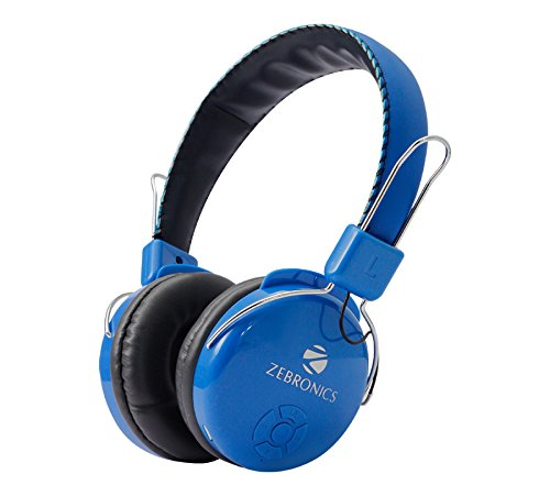Zebronics ZEB-RAGA Bluetooth Headset Headphone Wireless Over Ear Music with Mic (Blue)