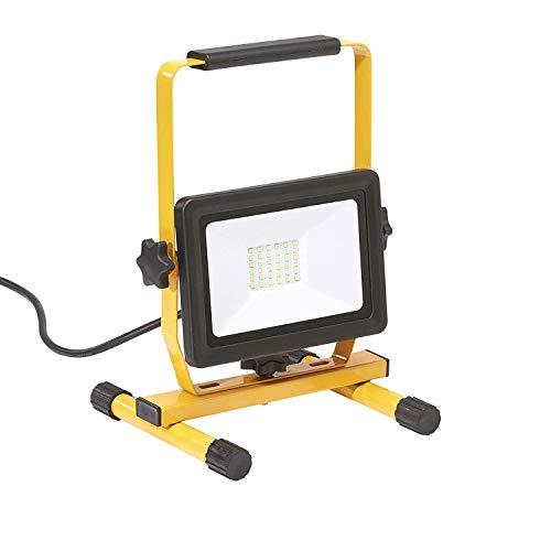 Northpoint LED Baustrahler Arbeitsstrahler Fluter 30W Leistung 3000 Lumen Lichtstrom stabiles Standgestell und 2m Zuleitung (1 x 30W)