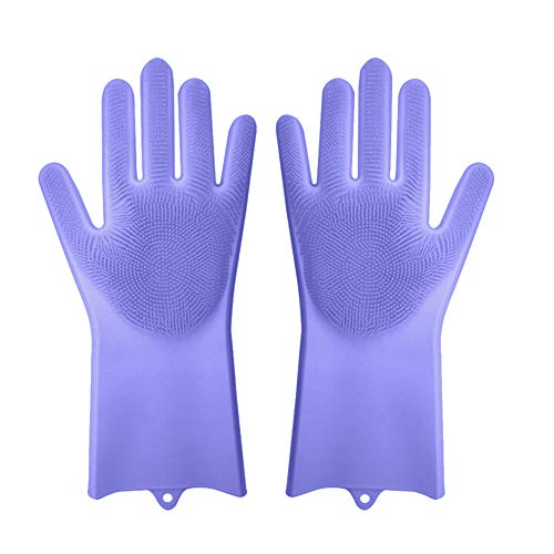 XiYuanShangMao Magic gloves silicone brush with gloves Cleaning Scrubber for Kitchen Pet BathSilicone Rubber Dish Washing Gloves (Purple)