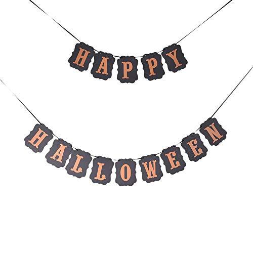 orative Fahne Halloween Dekoration Vintage Schwarz HAPPY HALLOWEEN/TRICK OR TREAT Brief Ziehen Blume Halloween Dekoration ()