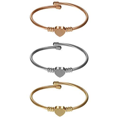 Cupimatch Damen Armband Herz Anhänger Freundschaftarmbänder, Elastische Verstellbare Edelstahl Verdrehten Stahlkabel Armreif, Gold Silber Rosegold(3 Stück)