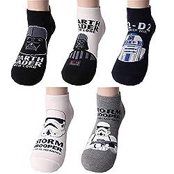 Star Wars Charakter Herren Knöchel Socken mit Beutel Packung mit 4 Paaren - Darth Vader, R2-D2, Stormtrooper Sneakersocken