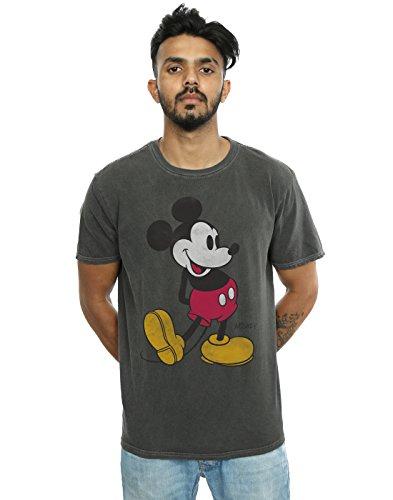 Disney Herren Mickey Mouse Classic Kick Gewaschen T-Shirt Holzkohle Large -