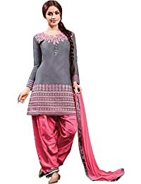 Fkart Women's Cotton Grey And Pink Embroidered Party Wear Salwar With Dupatta (FK-GREYPINKPATIALA_FREE_SIZE)