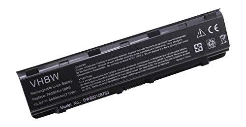 vhbw Batterie Li-ION 6600mAh pour Ordinateur Portable, Notebook Toshiba Satellite L835D, L840, L840D, L845 Remplace: PA5023U-1BRS, PA5024U-1BRS
