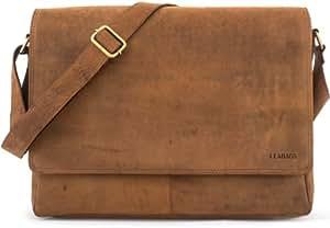 LEABAGS Oxford Umhängetasche aus echtem Büffel-Leder im Vintage Look - Braun