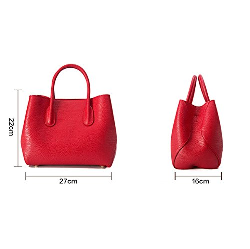 Dame Fashion Solid Color Retro Schultertasche Messenger Bag,Black Black