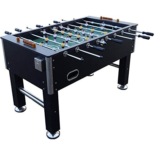 BuckShot Table Football Black woodcounters Soccer table with 2 balls, 36 MDF cabinet,Foosball Table with Adjustable leg levelers and reinforced hollow rods