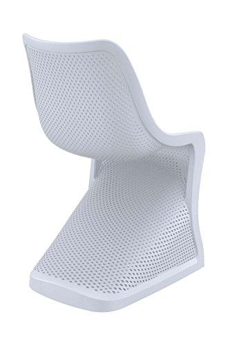 CLP Design Kunststoff-Stuhl BLOOM, XXL Gartenstuhl, Freischwinger Stuhl belastbar bis 160 kg Hellgrau - 4