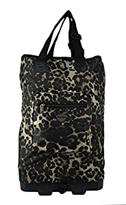 Hoppa Wheeled Hand Luggage Cabin Bag Folding Flight Bag on Wheels RYANAIR (leopard)