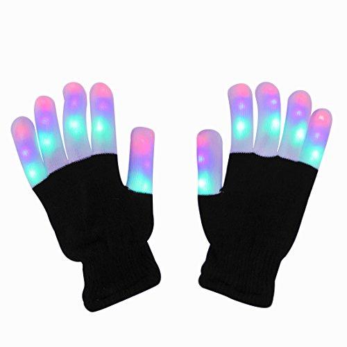 LED Handschuhe, DAXIN Party Handschuhe Leuchtende Handschuhe Licht handschuhe mit bunten Fingerleuchten und 6 Blinkmodus für Sport, Party, Tanz, Geburtstag, Disco, Rave Clubs (Kostüme Running Herren)