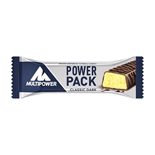 Multipower Power Pack Classic Dark Protein Riegel – Eiweißriegel mit 27% Protein – klassischer Power Bar als gesunder Sport-Snack – mit leckerem Banane-Schokolade-Geschmack – 24x35g