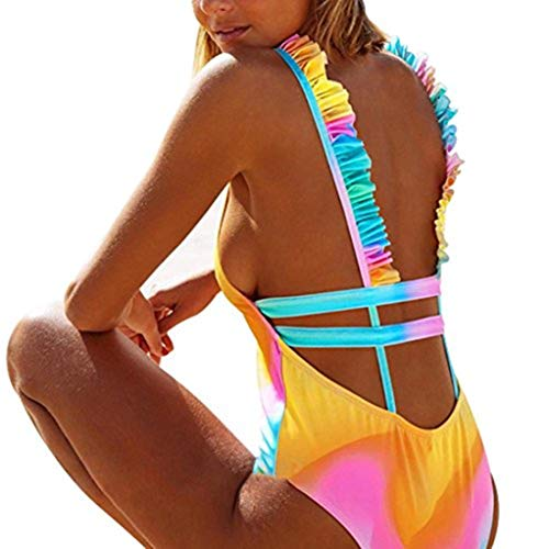 Designer-bh-träger (Bikini Sannysis Frauen Bademode Push-Up Gepolsterter Fester Rückenfreier BH Beachwear Einteiliger Badeanzug (L, Mehrfarbig1))