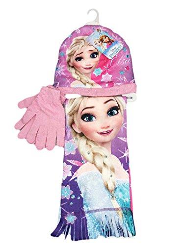 Set 3pz cappello cappellino sciarpa guanti bimba disney frozen rosa tg 52