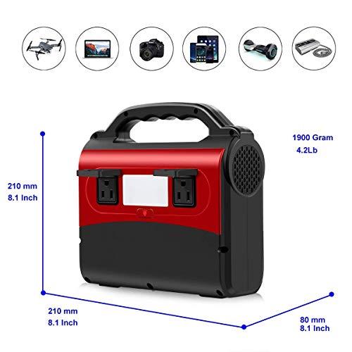 WANGTAO 150W 54000Mah Portable Battery Generator AC Socket/2 USB Ports/Solar Input Geeignet Für Outdoor Camping CPAP Fischen Emergency (Red)