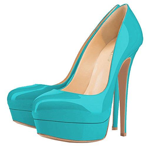 MONICOCO , chaussures compensées femme - Türkis Lackleder