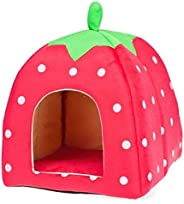 Soft Strawberry Pet Dog Cat Bed House Kennel Doggy Warm Cushion Basket [H10332 size:L Red]