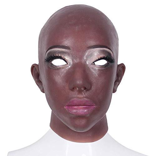 CANDYANA Braune Silikon Maske Lebensechte Weibliche Kopfbedeckungen Crossdresse Transsexuelle Kleid Party Halloween Erwachsenes Spielzeug