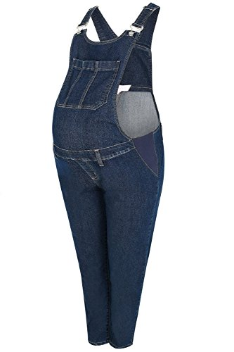 Yours Womens Bump It Up Maternity Indigo Denim Super Stretch Dungarees With Pockets PL