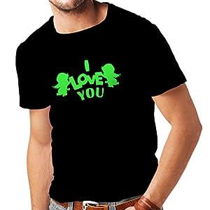muebles baratos por internet: Camisetas Hombre ángel Cupido Dice: Te Quiero Comillas (XX-Large Negro Verde)