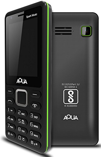 Aqua Spark Music - 3000 mAh Battery - Dual SIM Basic Mobile Phone - Black & Green