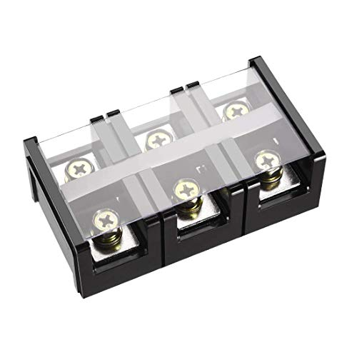 ZCHXD Barrier Terminal Block 600V 200A 3 Positions Dual Rows Screw Terminals Terminal Block, 3-position