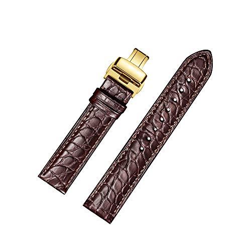 Cinturino orologio Jiexima in pelle di alligatore con cinturino di ricambio con fibbia in oro (18 mm, marrone)