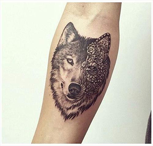 Tatuajes temporales con diseño de lobo de doble cara, para hombre y mujer, tatuaje temporal, para brazos, piernas, pantorrilla, brazo, cuello, 10,5 x 6 cm