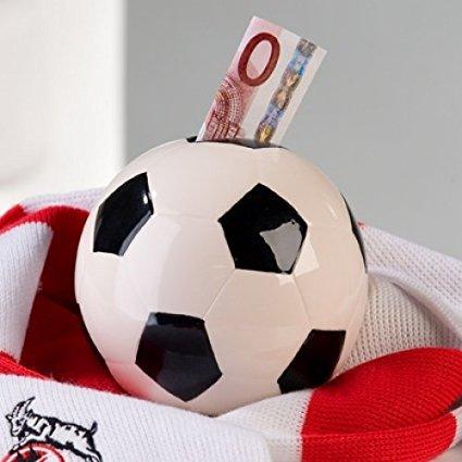 Spardose Fußball aus Keramik mit Schloß und Schlüssel Ø 11 cm