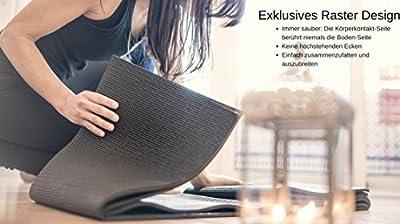 Yogamatte - Rutschfeste - Faltbar - Geeignet für Yoga Fitness Gymnastik Pilates - BONUS eBook Ratgeber - GESCHENK Baumwolltragetasche - Dicke Große Sportmatte - Extra Breit und Lang - Rückstellschaum
