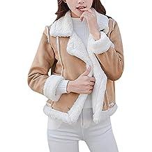 320deb062c37 IYHENZ Damen Mäntel Mode Warm Streetwear Winter Faux Wildleder Shearling  Reißverschluss Jacke Slim Fit Winterjacke Revers