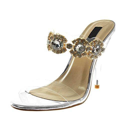 Slip Gioielli Scarpa Sandalo Tallone on Conica Angkorly 11 Rhinestone Scarpa Trasparente Cm Modo 5 Delle Diamante Donne Argento wUIwqS